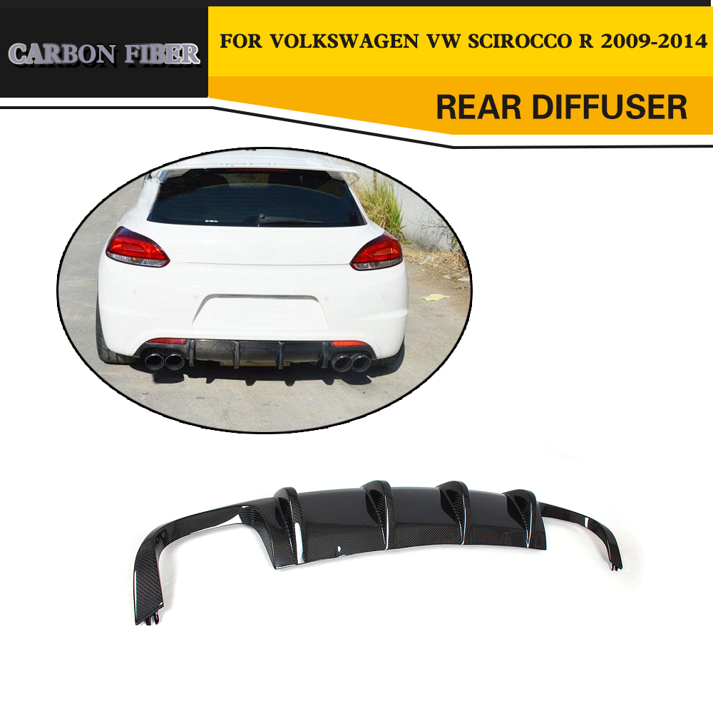 Car Styling Carbon Fiber Car Rear Diffuser Lip Spoiler For VW Scirocco R Only 2009 2014