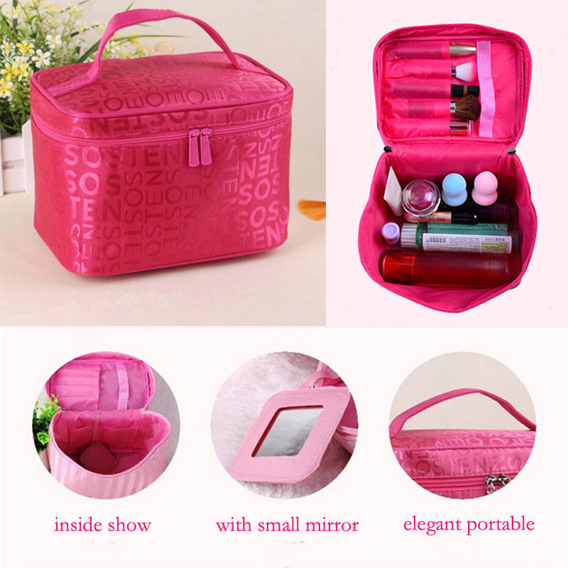 Women Fashion Letter Print Makeup Bag Practical Travel Cosmetic Bag Case Multifunction Pouch Toiletry Zip Wash Folding Organizer