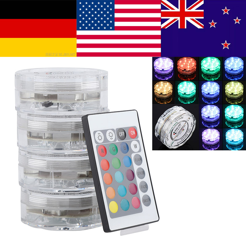 Led Lamps Capable 4 Set/lot 10 Leds Rgb Led Underwater Light 10w Pond Submersible Ip68 Waterproof Swimming Pool Light For Wedding Party