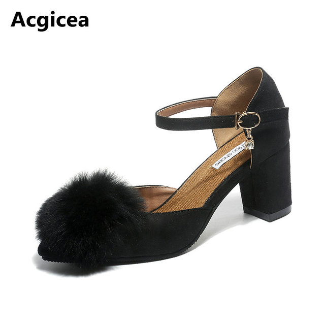 30f5c505f5d20 size 35-41 2017 New Autumn Europe Women Pumps High Heels Fur Dress Shoes  Woman Pointed Toes Spring Ladies Charming Footwear