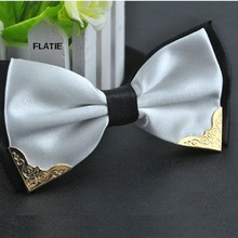 men s bow tie double color layer metal corner shirt accessories wedding party ties butterfly business