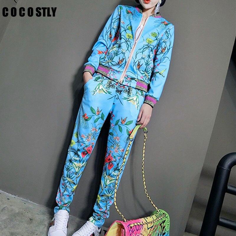 Two Piece Set Women 2018 Fashion Winter Tracksuit Women Full Sweat Suits Long Sleeve Top + Pants 2 Piece Set Women