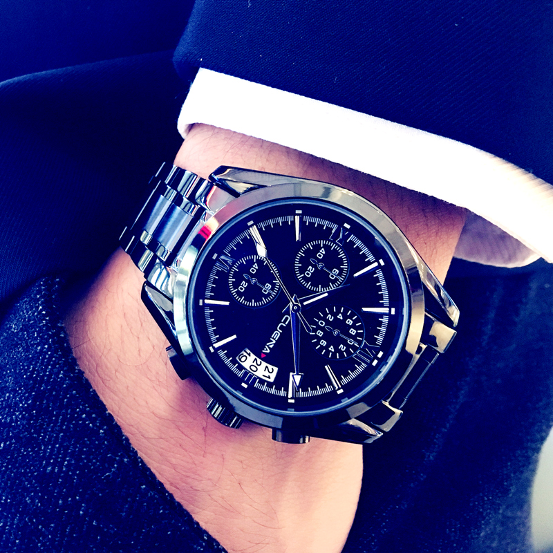 Cuena Mens Watches Top Brand Luxury Black Business Quartz Wristwatch Stainless Steel Chronograph Watch Best Selling 2018 Product