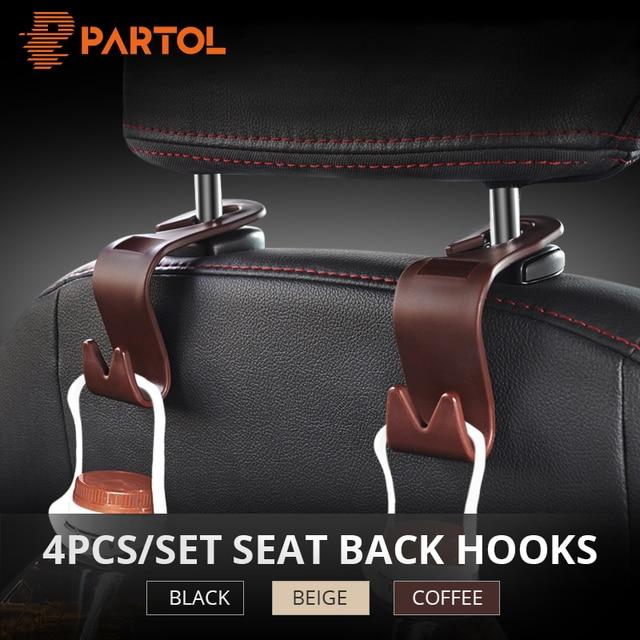 Partol 4pcs Auto Fastener Clip Universal Car Seat Back Hooks