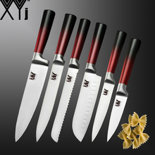 XYj Stainless Steel Kitchen Knife Set Fruit Utility Santoku Meat Cleaver Slicing Bread Chef Knives