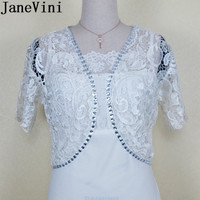 JaneVini New Style Bridal Coat With Crystals Lace Jacket White Champagne Women Wedding Stole Bride Short Wrap Chaqueta De Encaje