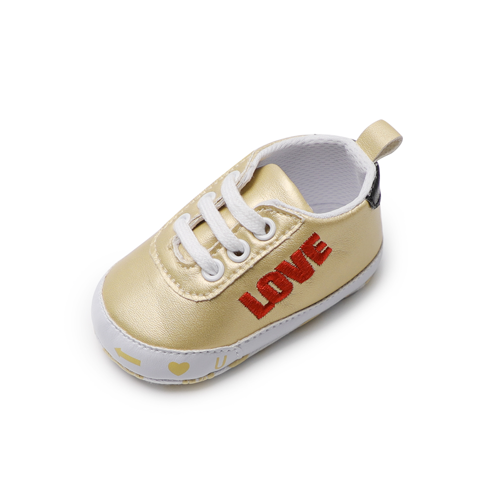 Baby PU Leather Shoes Baby Girl Infant Shoes First Walkers Baby LOVE Boy Shoes Girls Lace- Up Infant Solid Footwear 0-18 Months