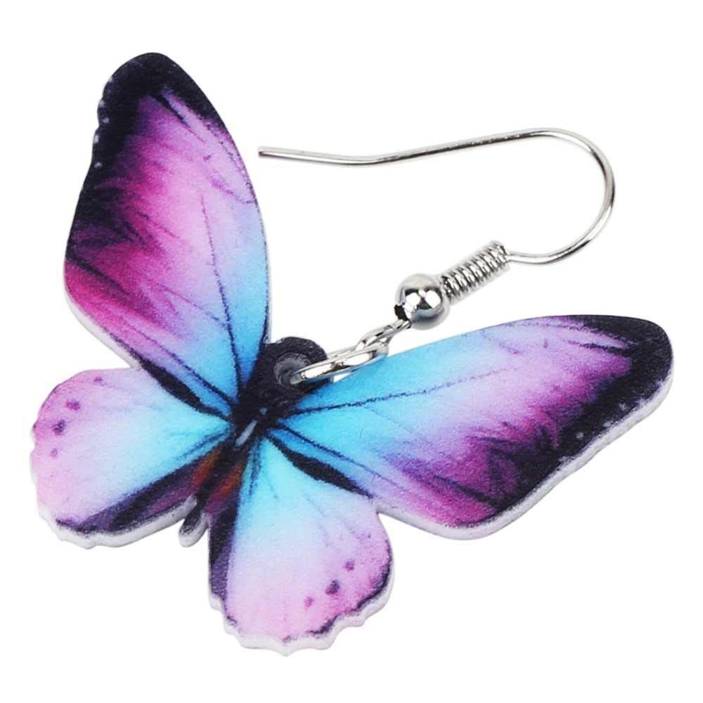 Bonsny アクリルビッグブライト色蝶昆虫イヤリングブラブラドロノベルティ女性女の子チャームティーンアクセサリー