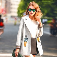 Fashion Europe Boutiques Embroidery Winter Womens Clothing Short Top Wool Jacket Coats Slim Designer Clothes for Sale
