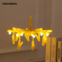 YINGTOUMAN 2018 NEW LED Photo Clip Modelling Light Indoor Balcony Creative Decorative Clothes Stand Foldable Lamp
