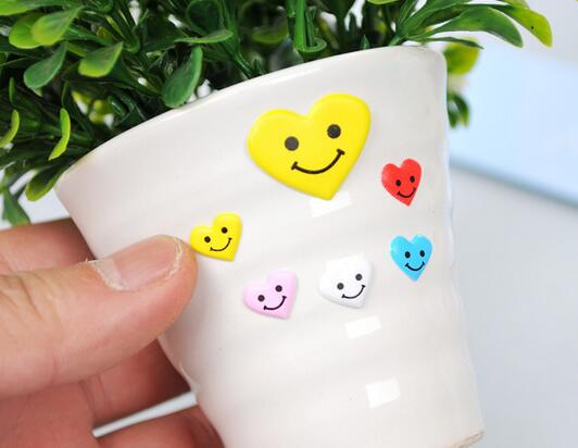 Emoji smile puffy sticker 24packs peach heart love 4 colors self adhesive children encourage prize