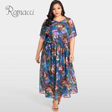 Romacci Summer Beach Chiffon Dress Women Sexy Plus Size Floral Print Maxi Ruffle Elegant Slim Long Loose Blue Robe