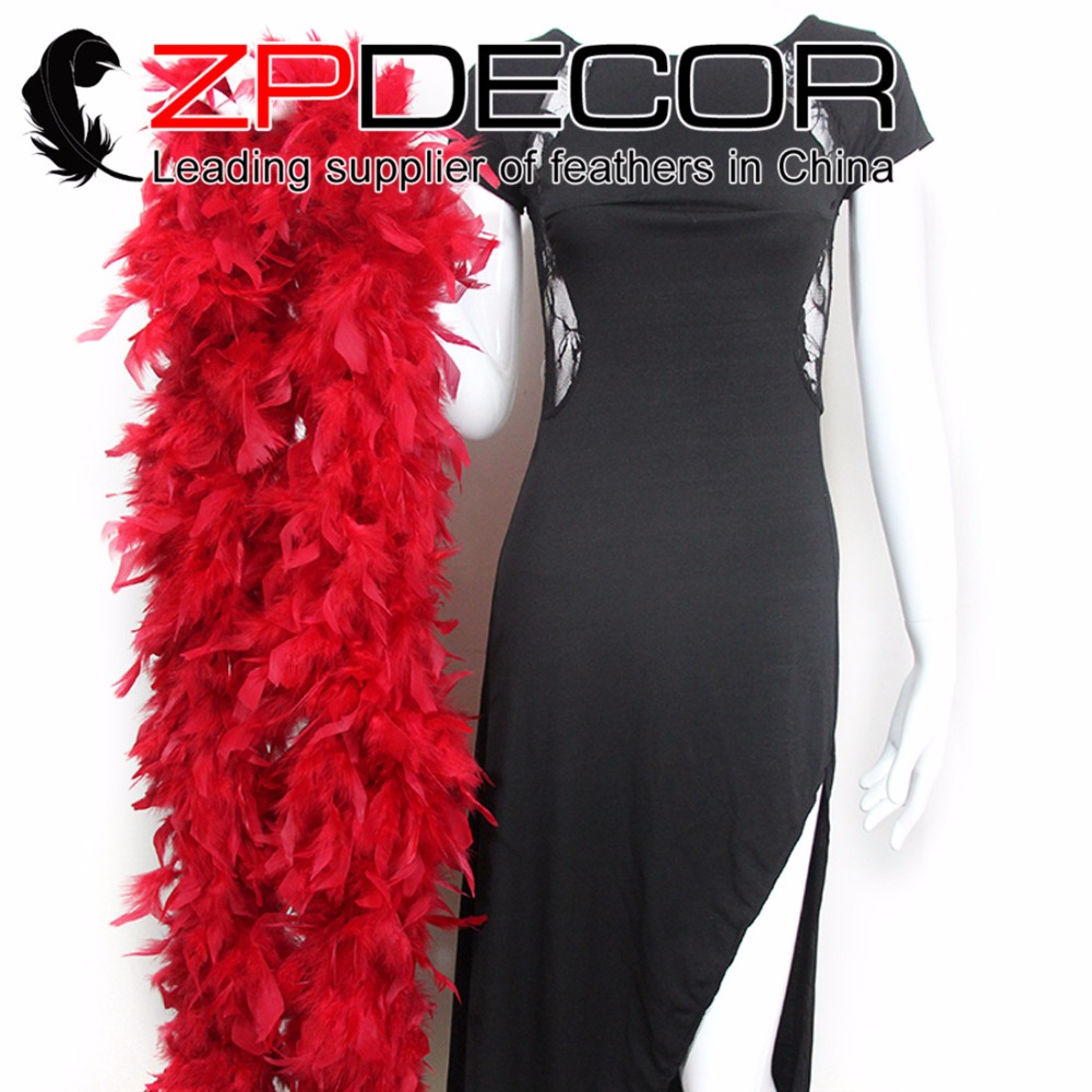 Manufacturer ZPDECOR 150g 2yards/lot Bulk Sale Red Dyed Long Chandelle Feather Sexy Boa for Women Dancing Decor