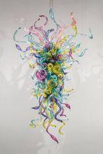 Flower Designed Colorful Blown Glass Chandelier Light AC 110V LED Bulbs Modern Art Deco Glass Hanging Crystal Chandelier цены