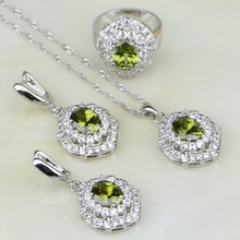 Olive Green Cubic Zirconia White Zircon 925 Sterling Silver Jewelry Sets For Women Wedding Earrings/Pendant/Necklace/Ring