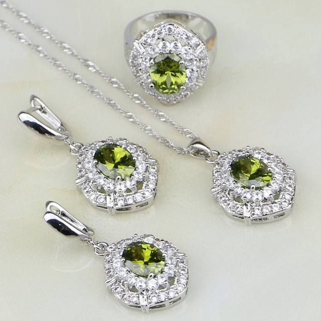 Olive Green Cubic Zirconia White Zircon 925 Sterling Silver Jewelry Sets  For Women Wedding Earrings Pendant Necklace Ring 1b0f41618ab2