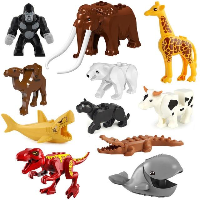 動物ビルディングブロックレンガサメヒョウ虎キリンベアウルフ恐竜ミニフィギュアのおもちゃレゴと互換性
