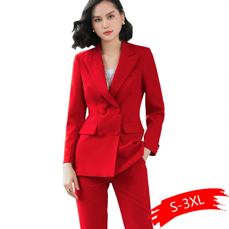 2019 New Office Work Blazer Suits Of High Quality OL Women Pants Suit Blazers Jackets With Trouser Two Pieces Set Red Pink Blue