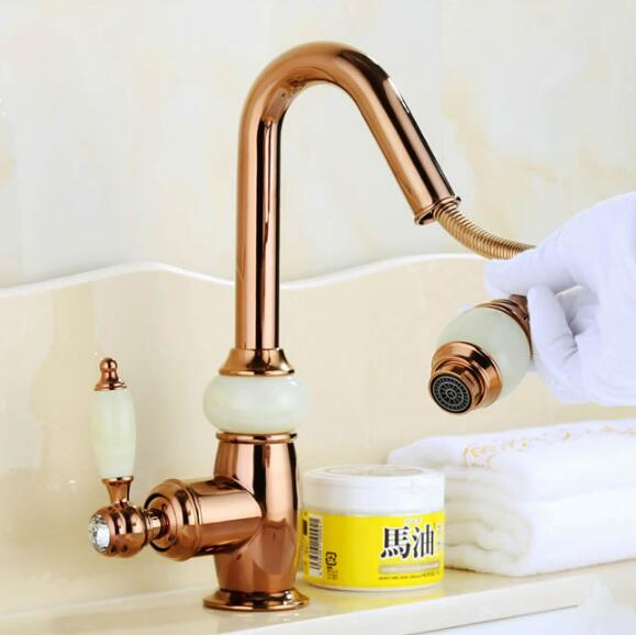 Euro Rose Gold Plating Pull Out Basin Sink Faucet Luxury Bathroom Basin Faucet Brass And Jade