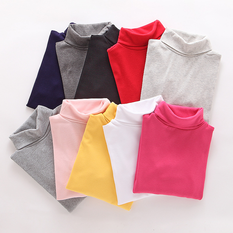 High Collar Boys Children T-Shirt Baby Girl Turtleneck Long Sleeve Solid Color Blouse Boys And Girls Shirts Children Tiny Cotton