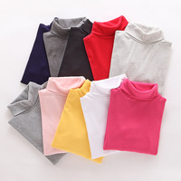 High Collar Boys Children T Shirt Baby Girl Turtleneck Long Sleeve Solid Color Blouse Boys And