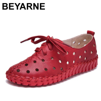 BEYARNE Spring And Summer New Genuine Leather Shoes Women Hollow Female Lace Genuine Leather Flats Women
