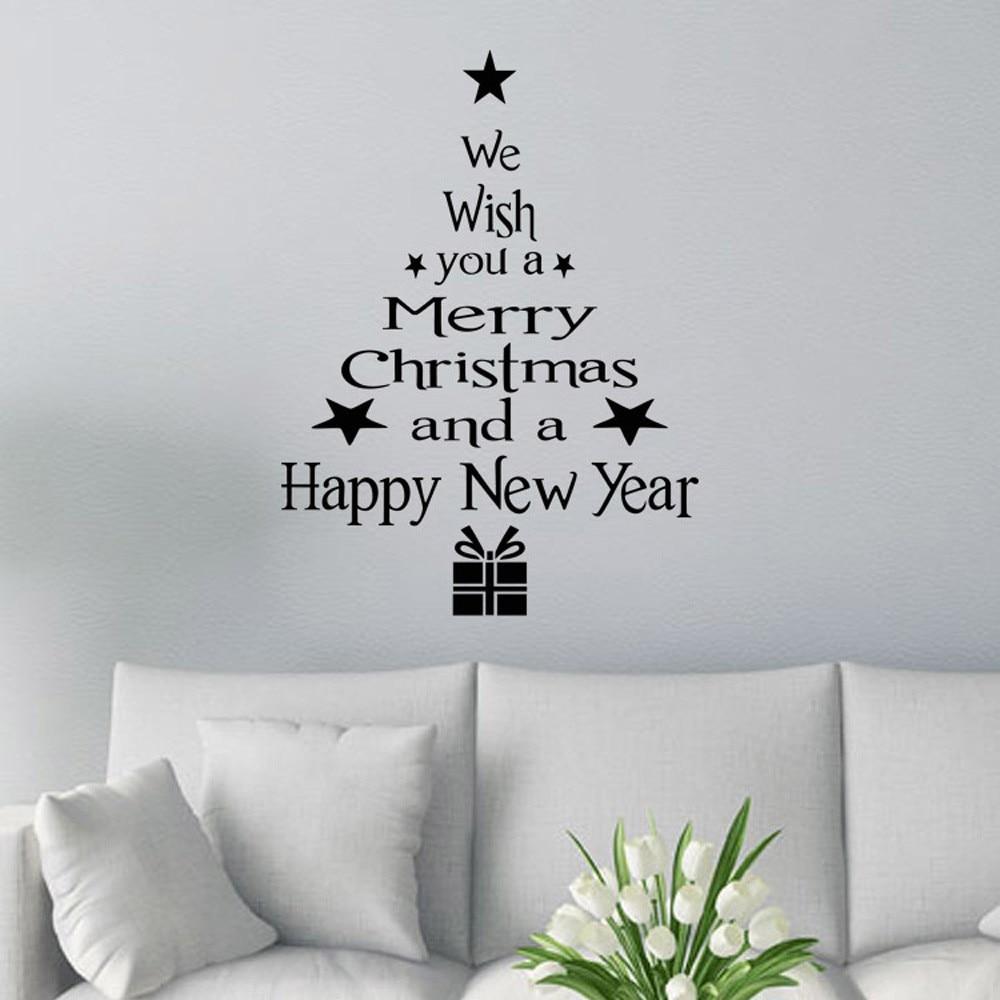 We Wish You A Merry Christmas Tree Window Decoration Mirrow Vinyl Sticker Decal