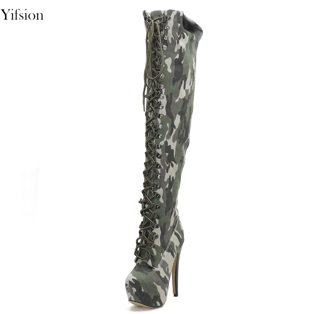 Yifsion New Women Winter Boots Over The Knee Boots Thin High Heels Sexy Camouflage Round Toe Fashion Shoes Women US Size 4-15 new arrival sexy over the knee boots women platform round toe thin high heels boots black white shoes woman winter