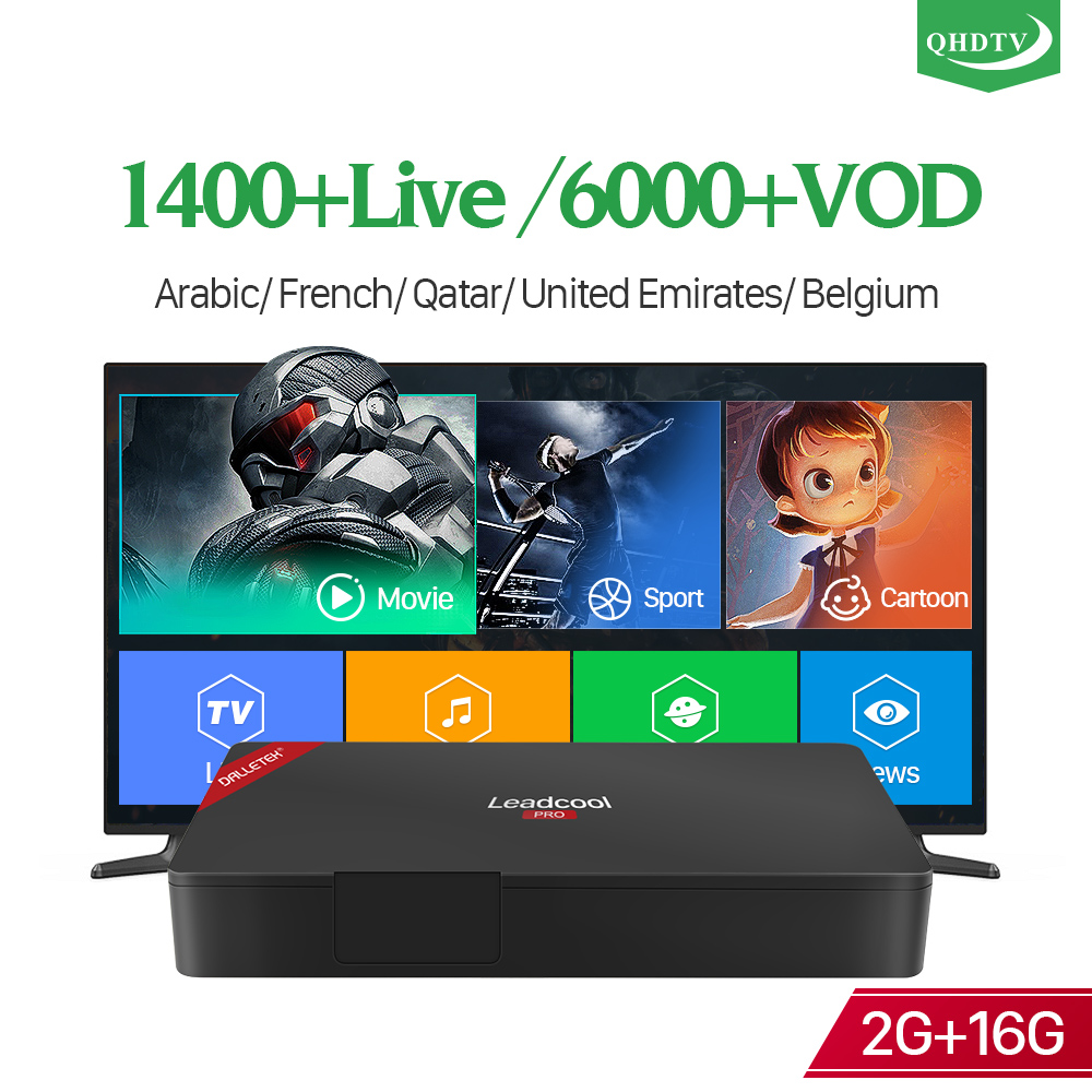 Leadcool Pro French Arabic Italy Spain 2+16G IP TV Box S905X Android 4K H.265 1 Year QHDTV Subscription IPTV Android Set Top BoxLeadcool Pro French Arabic Italy Spain 2+16G IP TV Box S905X Android 4K H.265 1 Year QHDTV Subscription IPTV Android Set Top Box