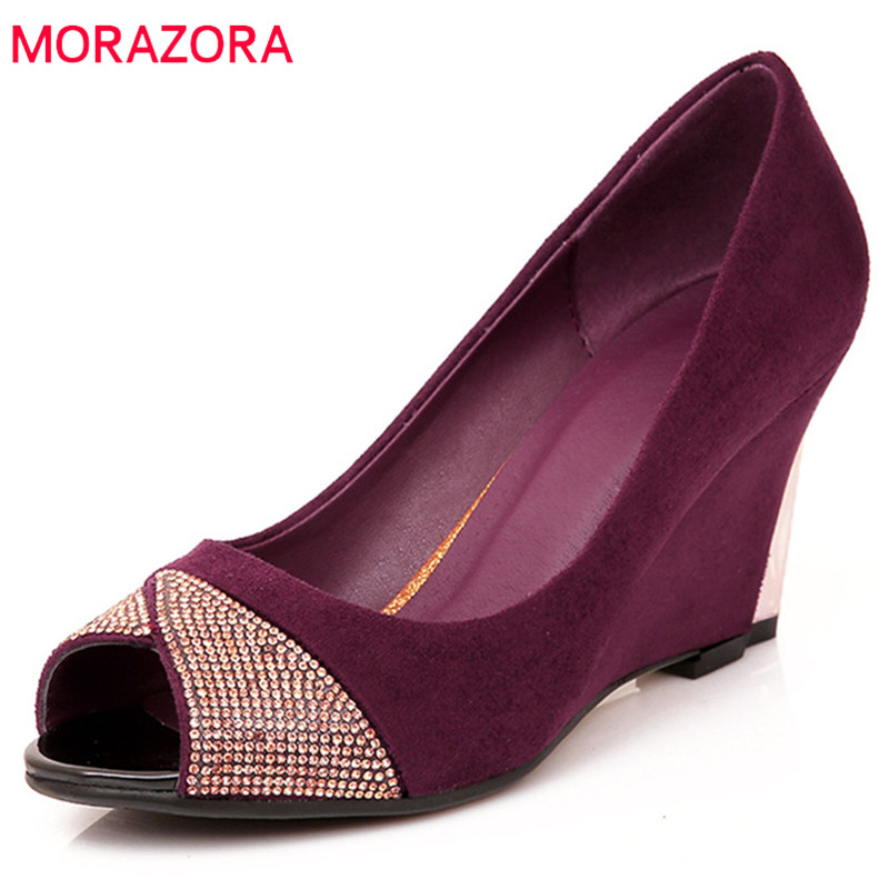 MORAZORA 2018 new arrive women pumps spring summer fashion shallow comfortable wedges shoes sweet peep toe flock shoes woman new 2017 spring summer women shoes pointed toe high quality brand fashion womens flats ladies plus size 41 sweet flock t179