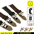 High quality Caff Leather Watchband Smart Watch Apple Watch 38mm 42mm Strap Band Butterfly Metal Clasp Buckle for Iwatch +Tools