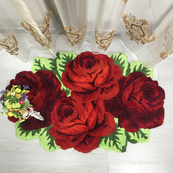High quality 3D Rose Handmade carpet Toilet Antiskid Mat/carpets for living room bedroom Area Rugs Luxery Valentine's Day gifts