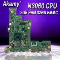 AKemy E205SA Laptop motherboard N3060 CPU 2GB RAM 32 GB for ASUS E205S E205SA Test mainboard E205SA motherboard test 100% ok