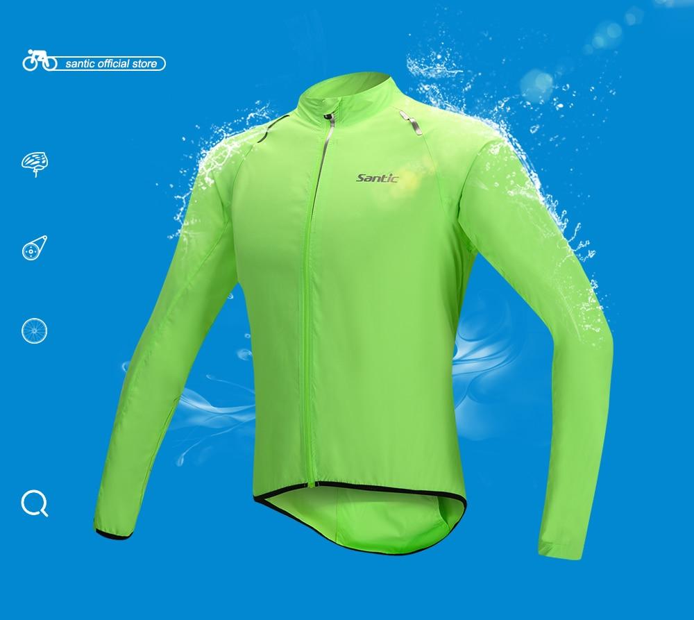 Men Santic Raincoat Windproof Sun Protection Fluorescent Green Long Sleeve UPF30+ Cycling Jacket Waterproof Summer M5C07015V