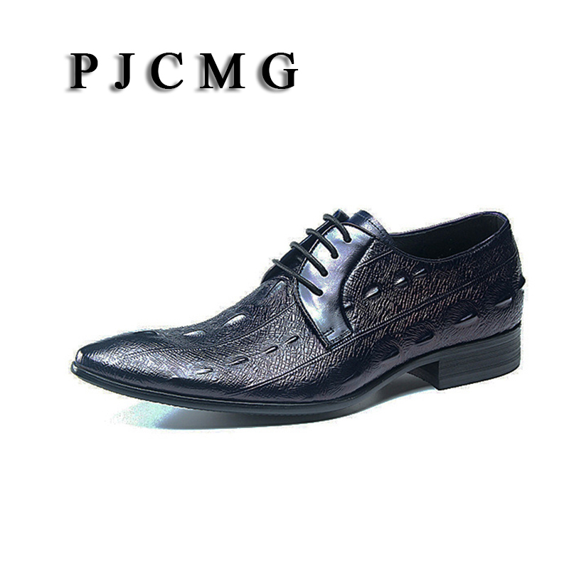 PJCMG New Fashion Black/Blue Spring/Autumn Lace-Up Pointed Toe Crocodile Pattern Genuine Leather Flat Man Wedding Dress Shoes front lace up casual ankle boots autumn vintage brown new booties flat genuine leather suede shoes round toe fall female fashion