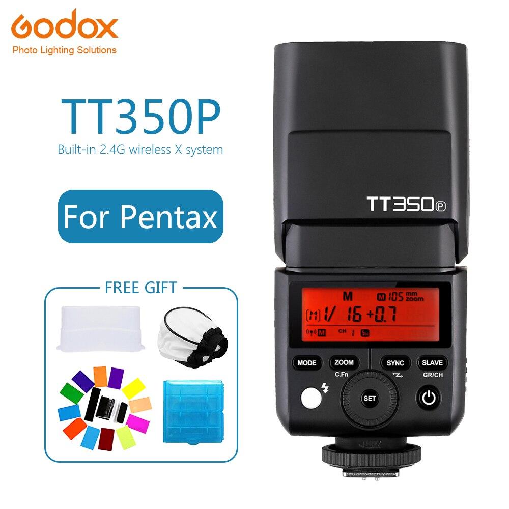 Godox Mini TT350 TT350P Speedlite flash TTL HSS 1/8000s 2.4G Wireless Camera photography for Pentax K70 K-3II K-1 KP K-50 K-S2