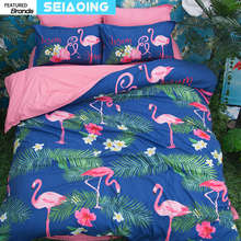 warm comforter cover bird forest 3d Flamingo bedding sets twin full king size animals pink bed linen adult decor 3/4pc christmas(China)