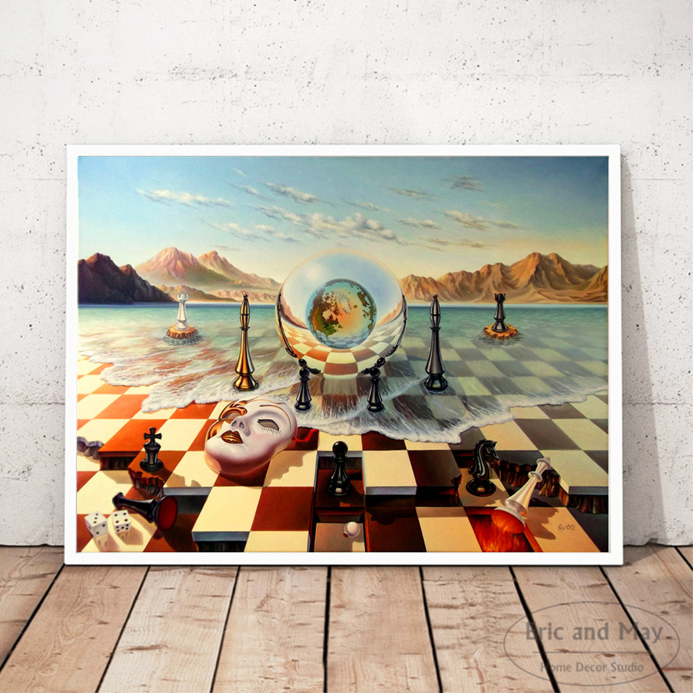 Surreal City Chess Beach Set Wall Art Canvas Painting Poster Prints Pictures For Living Room Decoration Home Oil Paintings Decor 3