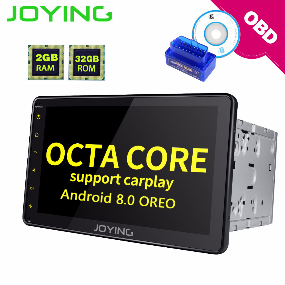 JOYING 2din car radio gps android 8.0 HD lcd touchscreen autoradio BT 8 core 2gb ram support steering wheel and carplay free OBD joying 2gb hd 10 touch screen 2din android 8 0 car auto radio stereo audio steering wheel head unit gps tape recorder free obd