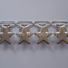 DHL Free Shipping 200 pcs 1'' 25mm Metal  Silver Color Enamel Star Shape Pacifier Clips / Suspender Clips Rack Plating