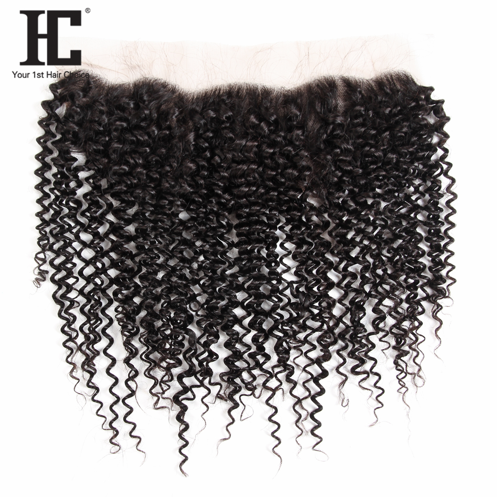 HC 13x4 Kinky Curly Pre Plucked Lace Frontal Closure With Baby Hair Brazilian Remy Human Hair Lace Frontal Free Shipping