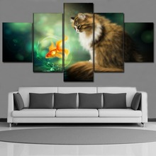 Chambotrade Canvas Print Modular Picture Decor Framework 5 Piece Animal Cat And Goldfish Painting Home Wall Art Poster