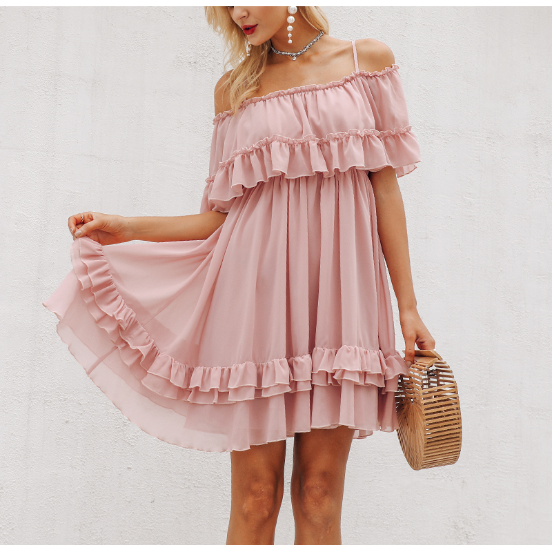 HTB1hj9SaOLxK1Rjy0Ffq6zYdVXaz - BeAvant Off shoulder strap chiffon summer dresses Women ruffle pleated short dress pink Elegant holiday loose beach mini dress