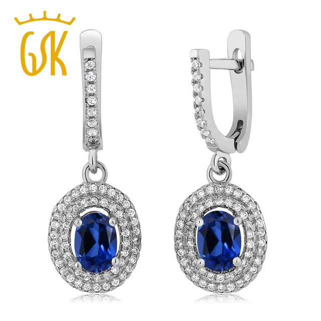 GemStoneKing 2.82 Ct Oval Blue Simulated Sapphire 925 Sterling Silver Dangle Earrings For Women