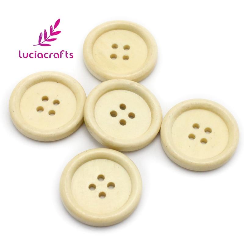 Распродажа! Lucia crafts 12 шт./лот 25 мм с 4 отверстиями натуральный Цвет круглый деревянных, прошитых альбомов ручной работы кнопки DIY одежды материалы для скрапбукинга CH1236