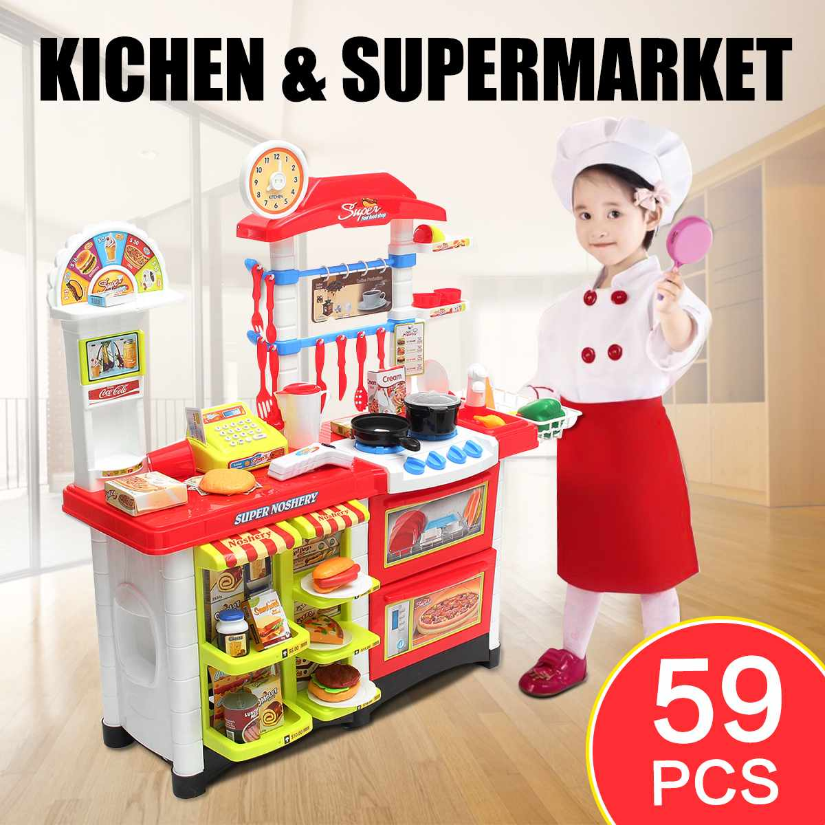 LBLA Miniature Kitchen Plastic Pretend Play Food Supermarket Children Toys With Light Music Kitchen Cooking Toy Set