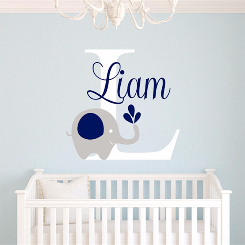 2016 new custome baby name decal elephant wall sticker baby room art