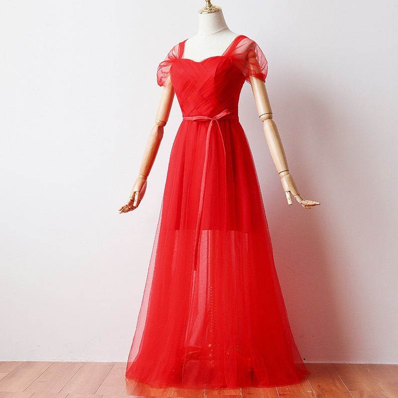 Red  Short Inner Lining Bridesmaid Dress Vestido Sexy Prom Dress Woman Dresses For Party And Wedding  Maxi Dress Back Of Bandage