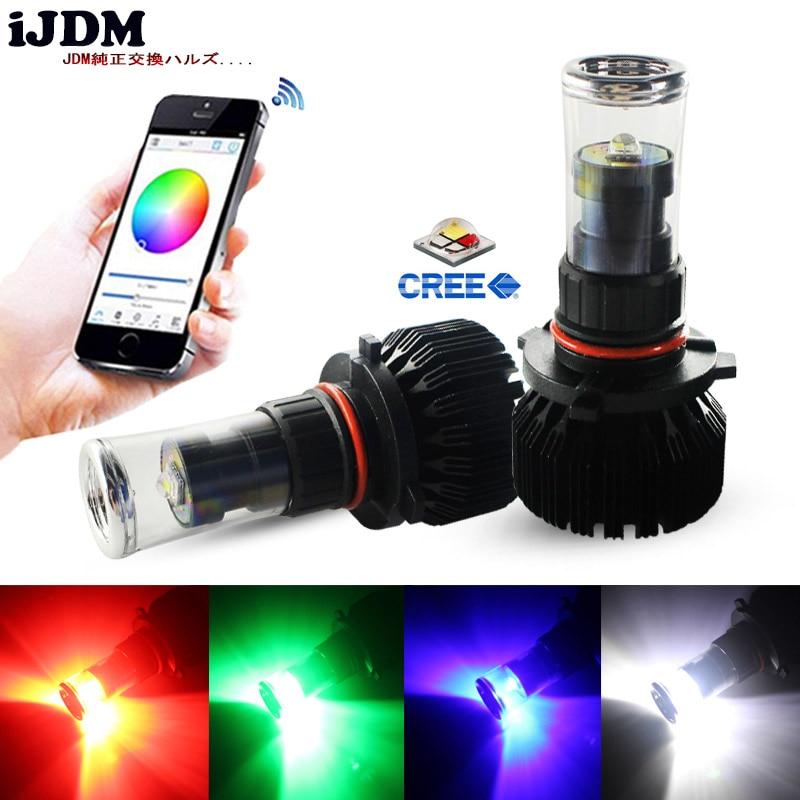 IJDM CANbus Error Free 9005 HB3 LED RGB Chips 9006 H8 H11 H7 LED Bulbs App-Controled For Car Fog Lights Or Driving Lights 12V