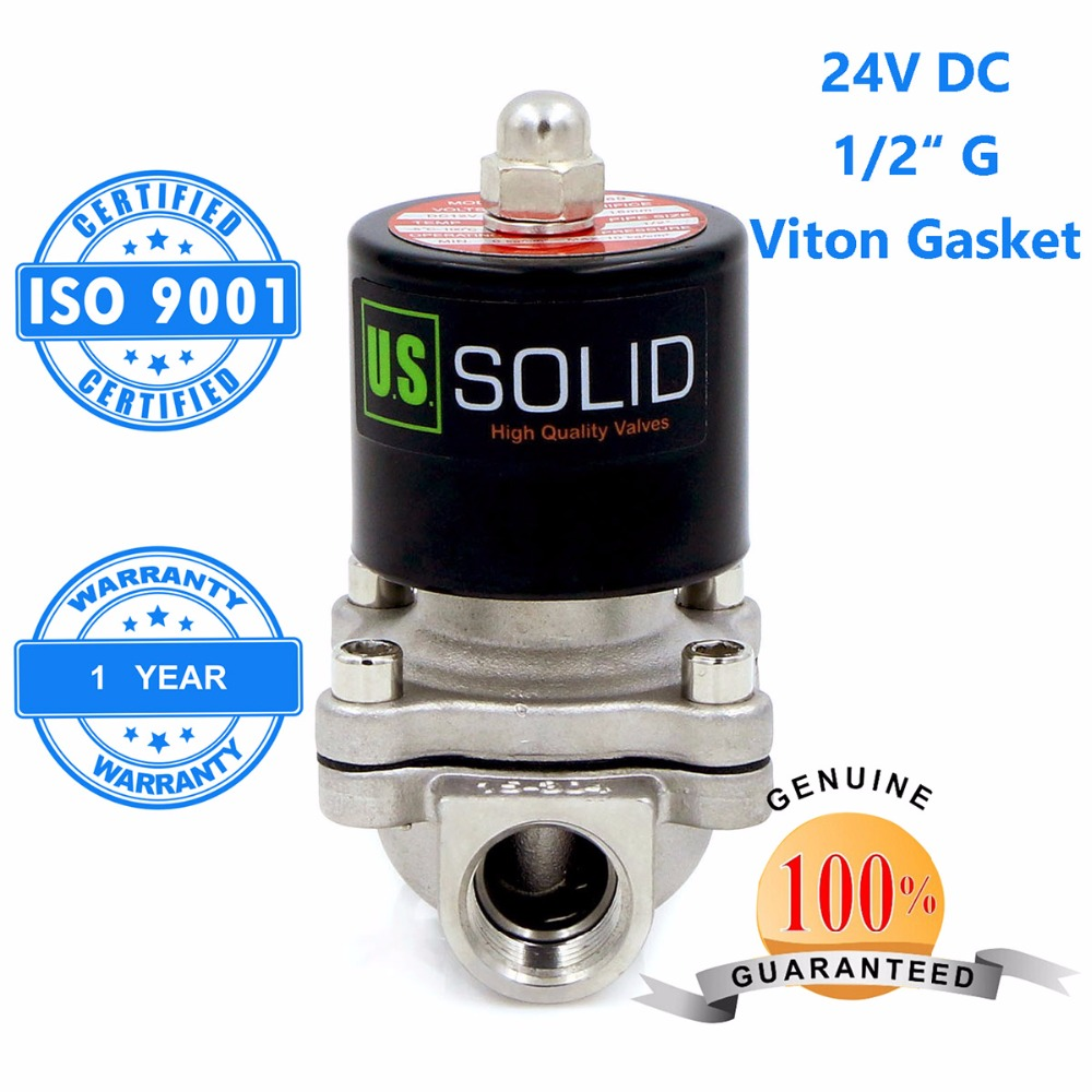 U.S. Solid 1/2 Stainless Steel Electric Solenoid Valve 24V DC G Thread Normally Closed water, air, diesel... ISO Certified